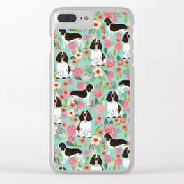 English Springer Spaniel florals cute dog art pet portraits by pet friendly dog breeds Clear iPhone Case