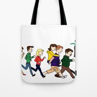 parks and rec Tote Bags featuring Parks Department by Anna Valle