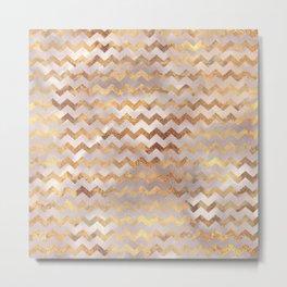 Elegant chic faux gold chevron marble pattern Metal Print