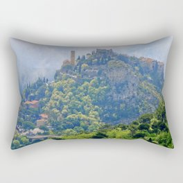 Morning Mist Over Eze Village Rectangular Pillow
