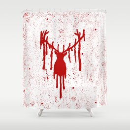 Red Stag Head Shower Curtain
