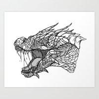 Dragon Sketch Art Print