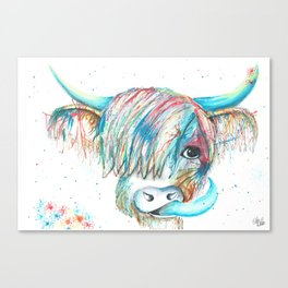 Highland Cattle full of colour Canvas Print