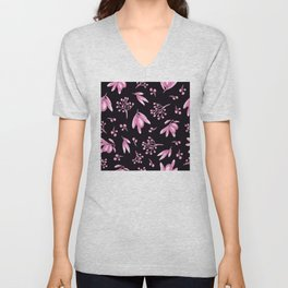Pink Floral And Leaf Pattern on Black Silk Unisex V-Neck