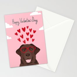 Chocolate Lab love heart glasses cute pet gifts valentines day labrador retriever Stationery Cards