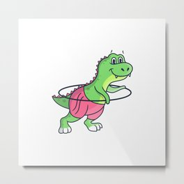 Sport dinosaur rope skipping cute dinosaur girl Metal Print