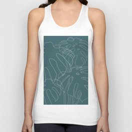 Monstera No2 Teal Unisex Tank Top