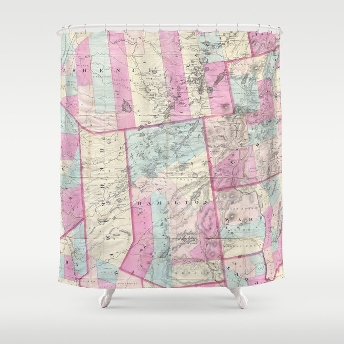 Vintage Map Of The Adirondack Mountains 1867 Shower Curtain