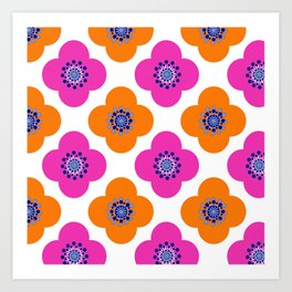 Orange and magenta poppy retro floral Art Print