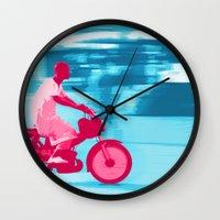 motorbike Wall Clocks featuring Motorbike Guy by Sergio Silva Santos
