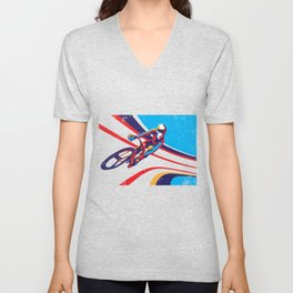 retro track cycling poster print G Force Unisex V-Neck