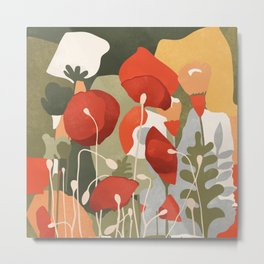 And far and wide, in a scarlet tide, The poppy's bonfire spread. Metal Print