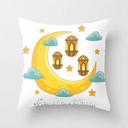 Ramadan Kareem print for kids, Eid Mubarak Banner graphic Throw Pillow