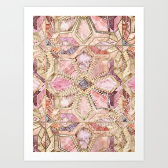 Geometric Gilded Stone Tiles in Blush Pink, Peach and Coral Art Print
