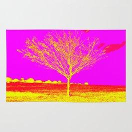 Pink Yellow tree Rug