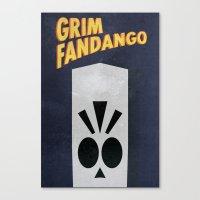 grim fandango Canvas Prints featuring Minimalist Grim Fandango Poster by Lance Magnum