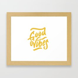 Good Vibes, white & gold lettering Framed Art Print