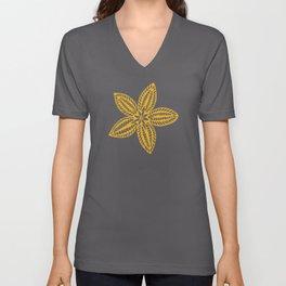 Retro Brown Blue Yellow Gold Polynesian Flowers Pattern Unisex V-Neck