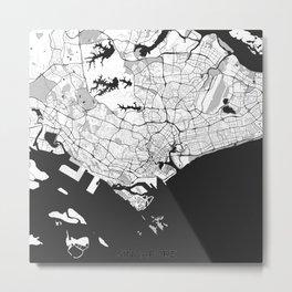 Singapore Map Gray Metal Print
