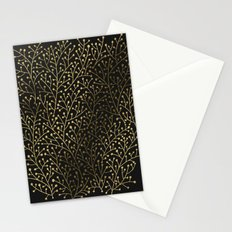 Gold Berry Branches on Black Stationery Cards