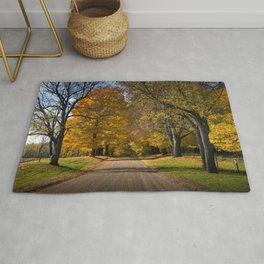Rural Country Gravel Road in Autumn Rug