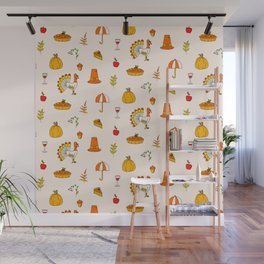 Happy thanksgiving day pattern Wall Mural