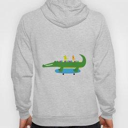 Crocodile and skateboard Hoody