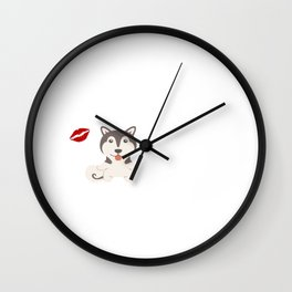 I Kissed An Alaskan Malamute And I Liked It Cute Dog Kiss Gift Idea Wall Clock