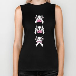 Funny Cows Farming Don't See Don't Hear Don't Speak Design Biker Tank