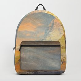 Mountains abstract landscape yellow Backpack
