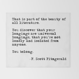 The beauty of all literature - F Scott Fitzgerald Throw Blanket