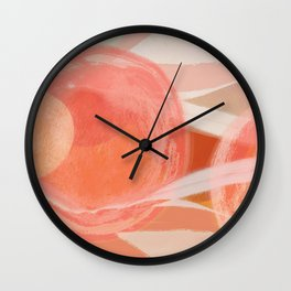 Shapes and Layers no.22 - Pink, coral, peach, orange abstract painting Wall Clock