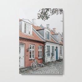 Colorful Danish houses at Møllestien, Aarhus, Denmark Metal Print