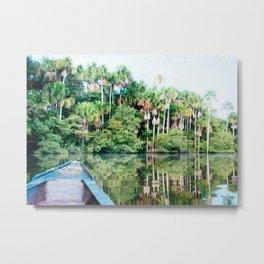 A Boat in the Amazon Rainforest Fine Art Print Metal Print
