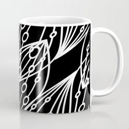 White molecular helix with diagonal circles on a black background. Coffee Mug