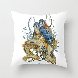 Kestrel and skulls Throw Pillow
