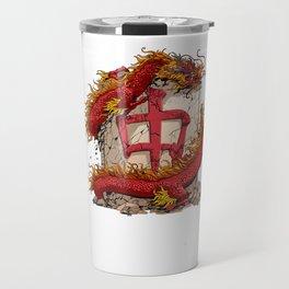 Mahjong Player Mah Jongg T-Shirt Red Dragon Tile Travel Mug