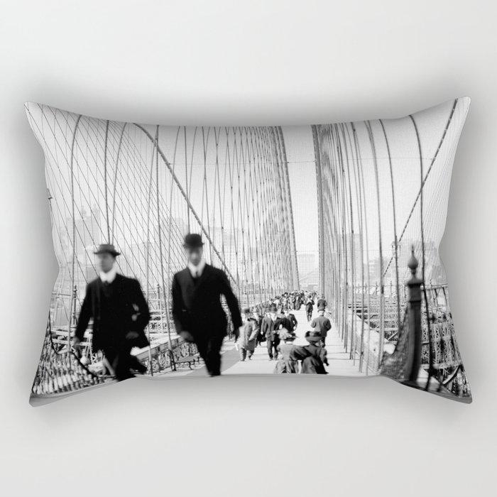 Brooklyn Bridge Vintage Photograph, 1905 Rectangular Pillow