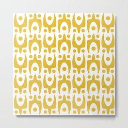 Mid Century Modern Abstract Pattern 541 Mustard Yellow Metal Print