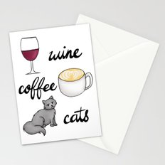 Wine Coffee Cats Stationery Cards