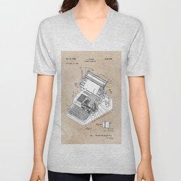 patent art Yutang Chinese typewriter 1952 Unisex V-Neck
