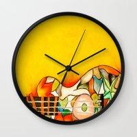 guitar Wall Clocks featuring Guitar  by Alexa Brooke Rutledge