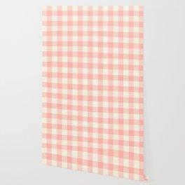 PASTEL GINGHAM 02, blush pink squares Wallpaper