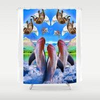 dolphin Shower Curtains featuring Dolphin by WilkzorKnarkibarki