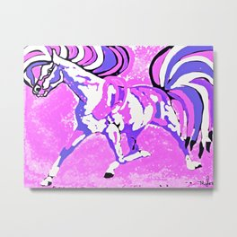 Horse Pink and Blue Purple Metal Print