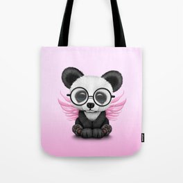 Cute Panda Cub with Fairy Wings and Glasses Pink Tote Bag
