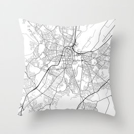 Belfast Map, Northern Ireland - Black and White Throw Pillow