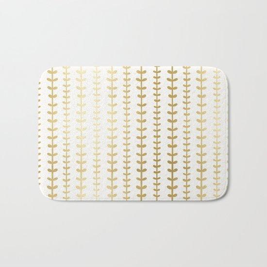 Minimalist gold vines pattern Bath Mat
