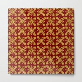 Golden Key Pattern Metal Print
