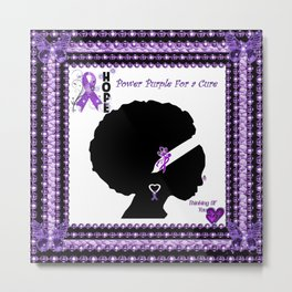 Power Purple For a Cure - Thinking Of You Metal Print